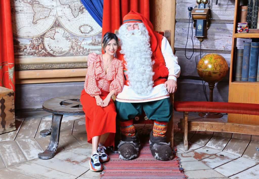 Santa Claus and Bobo Fok in Santa Claus Office in Rovaniemi
