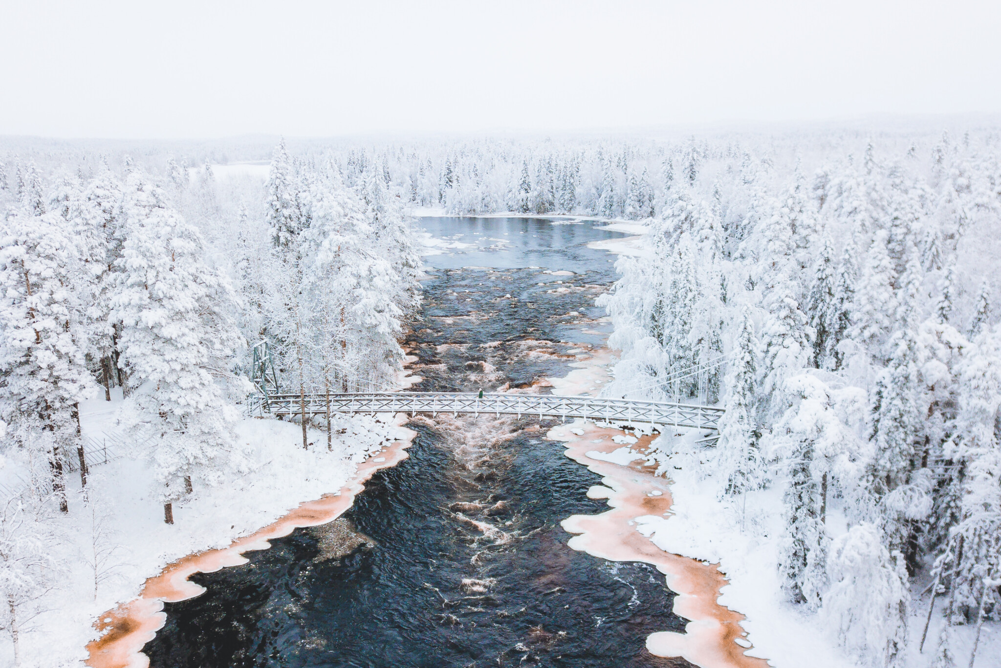Aerial from Vaattunkikongas in Arctic Circle Hiking Area in Rovaniemi, Lapland, Finland