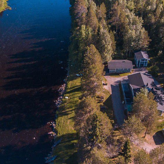 Aerial view Simojoen Lohiranta, Lapland, Finland