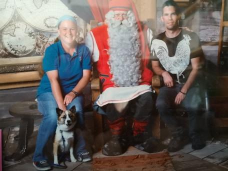Anni Lundi with Santa Claus in Rovaniemi Lapland Finland