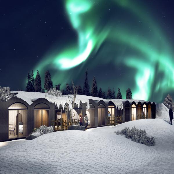 Kammi Family Suites and aurora borealis in Apukka Resort Rovaniemi Lapland Finland