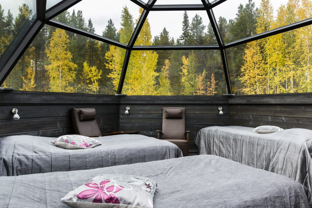 Arctic SnowHotel and Glass Igloos, autumn colours in Rovaniemi, Lapland, Finland
