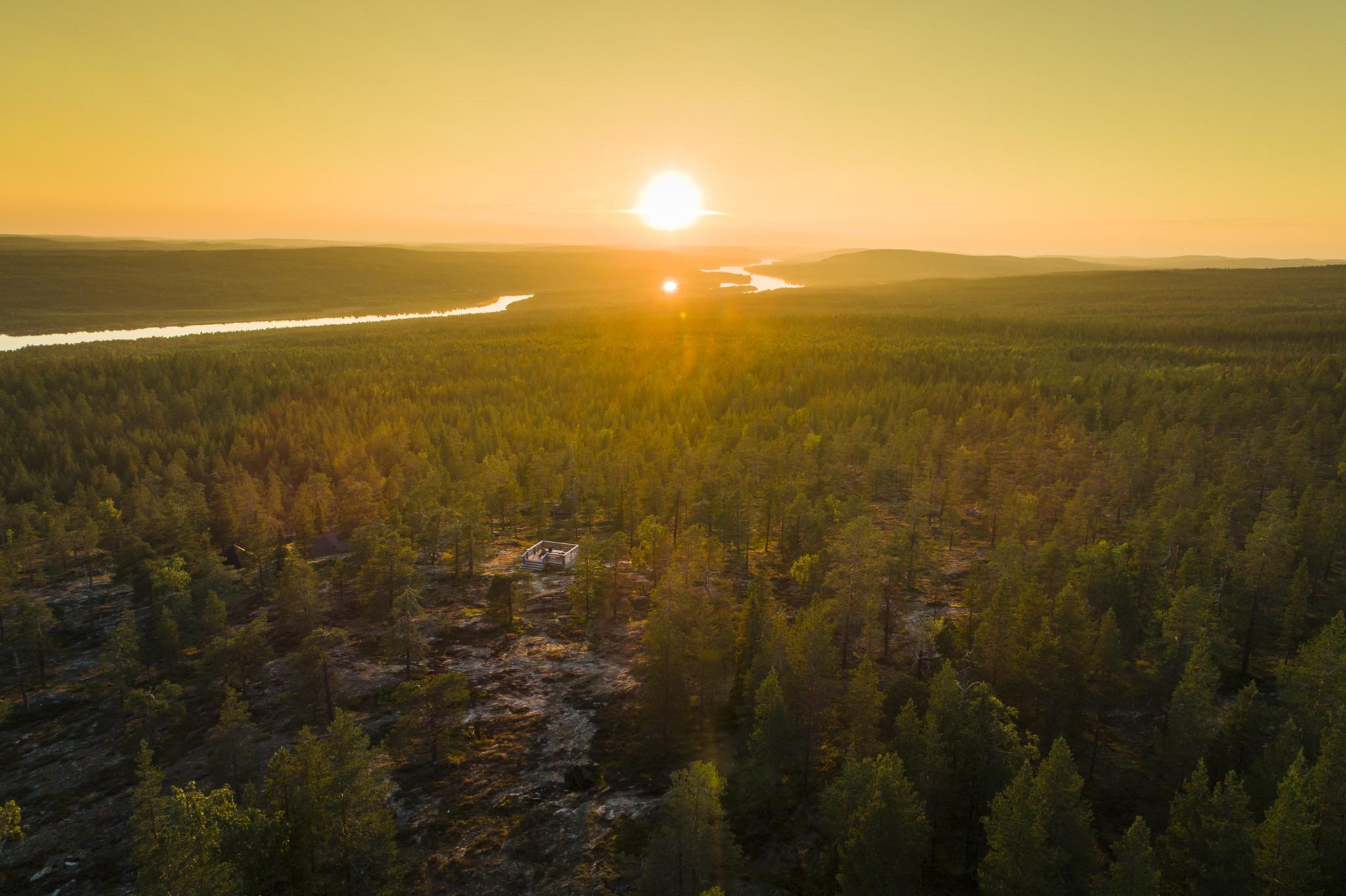 August sun in Rovaniemi Lapland Finland by Alexander Kuznetsov