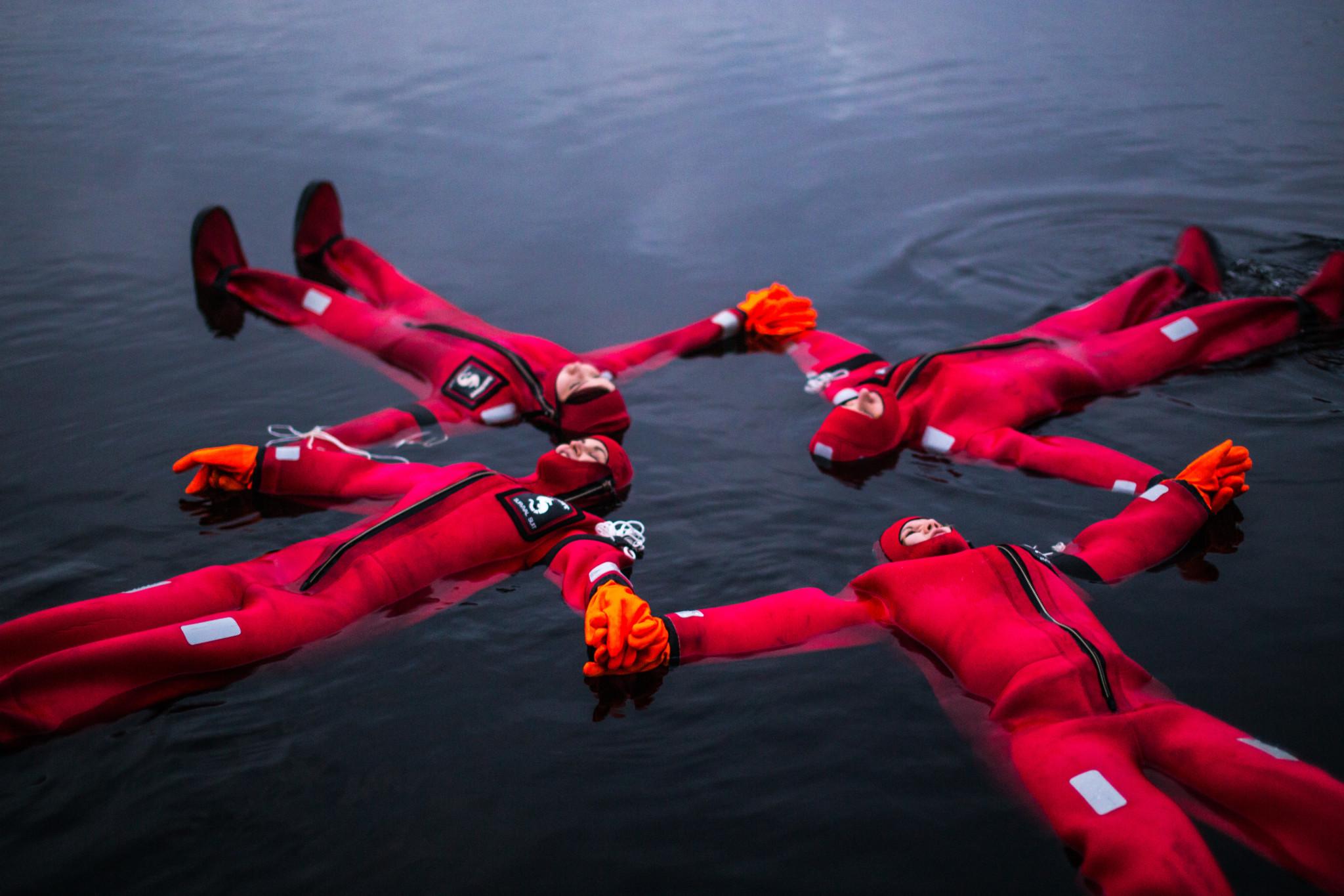 Floating in Rovaniemi Lapland Finland