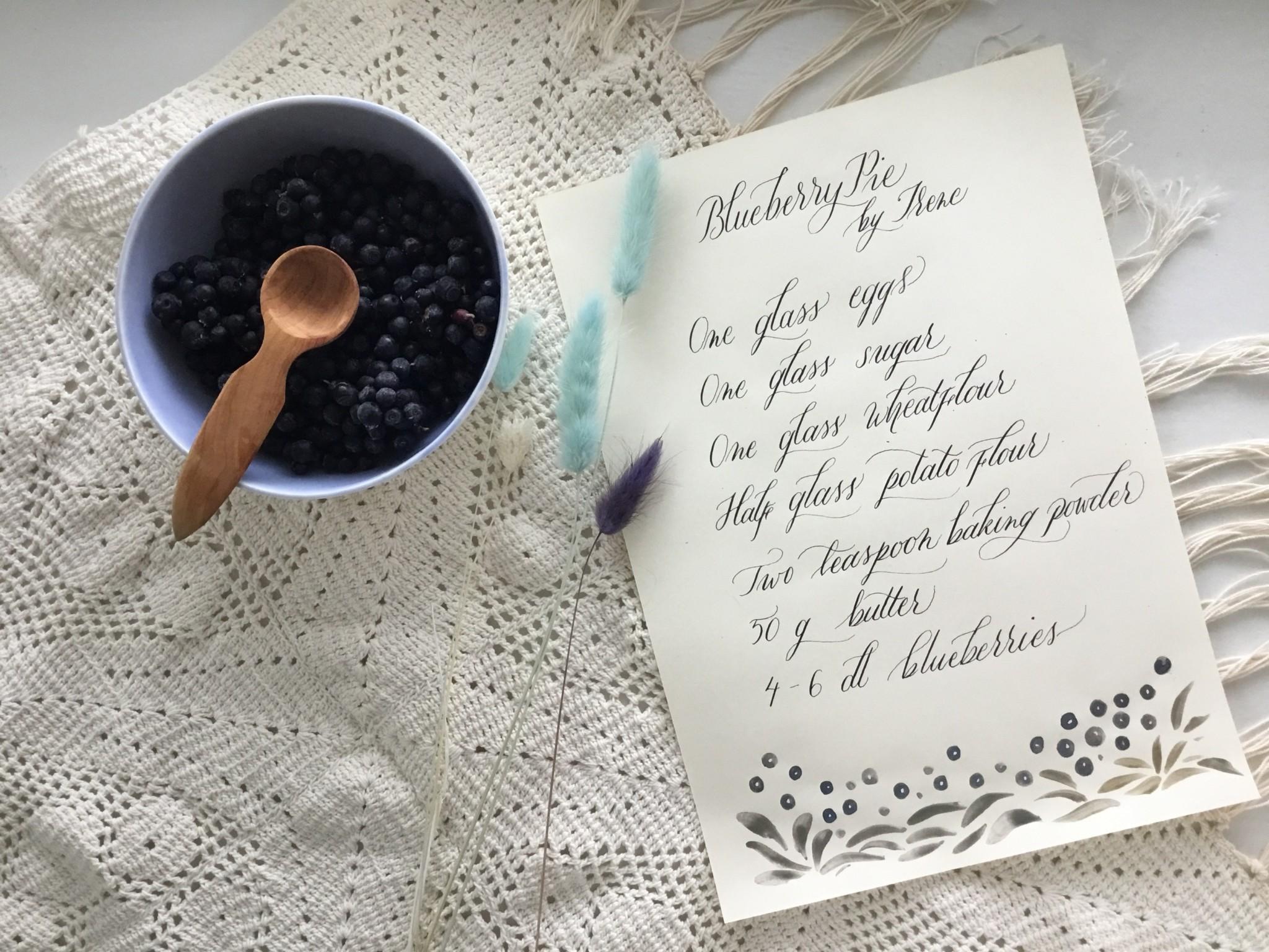 Blueberry pie recipe by Irene Kangasniemi Hornwork Rovaniemi Lapland Finland calligraphy by A-M Lampela