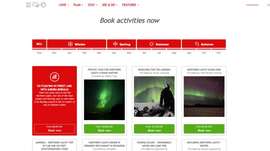 VisitRovaniemi matkailun online aktiviteettikauppa