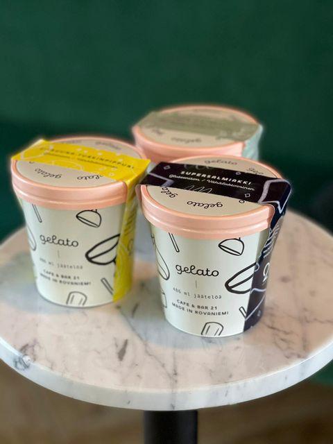 CafeBar 21 take away gelato design by Kaisa Kaartela