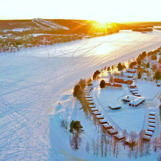 Cottages in Napapiirin Saarituvat in Rovaniemi, Lapland, Finland