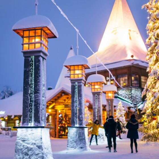 Crossing the Arctic Circle at Santa Claus Village in Rovaniemi Lapland Finland (1)