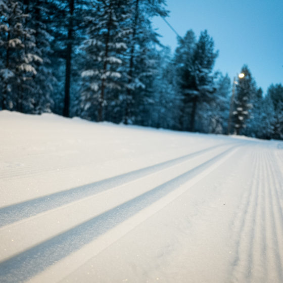 First snow skiing track in Rovaniemi Lapland Finland