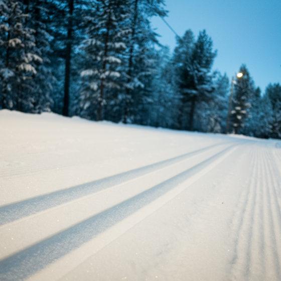 First snow skiing track in Rovaniemi Lapland Finland