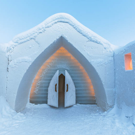 Entrance to Snow Hotel, Arctic SnowHotel and Glass Igloos, Rovaniemi, Lapland, Finland