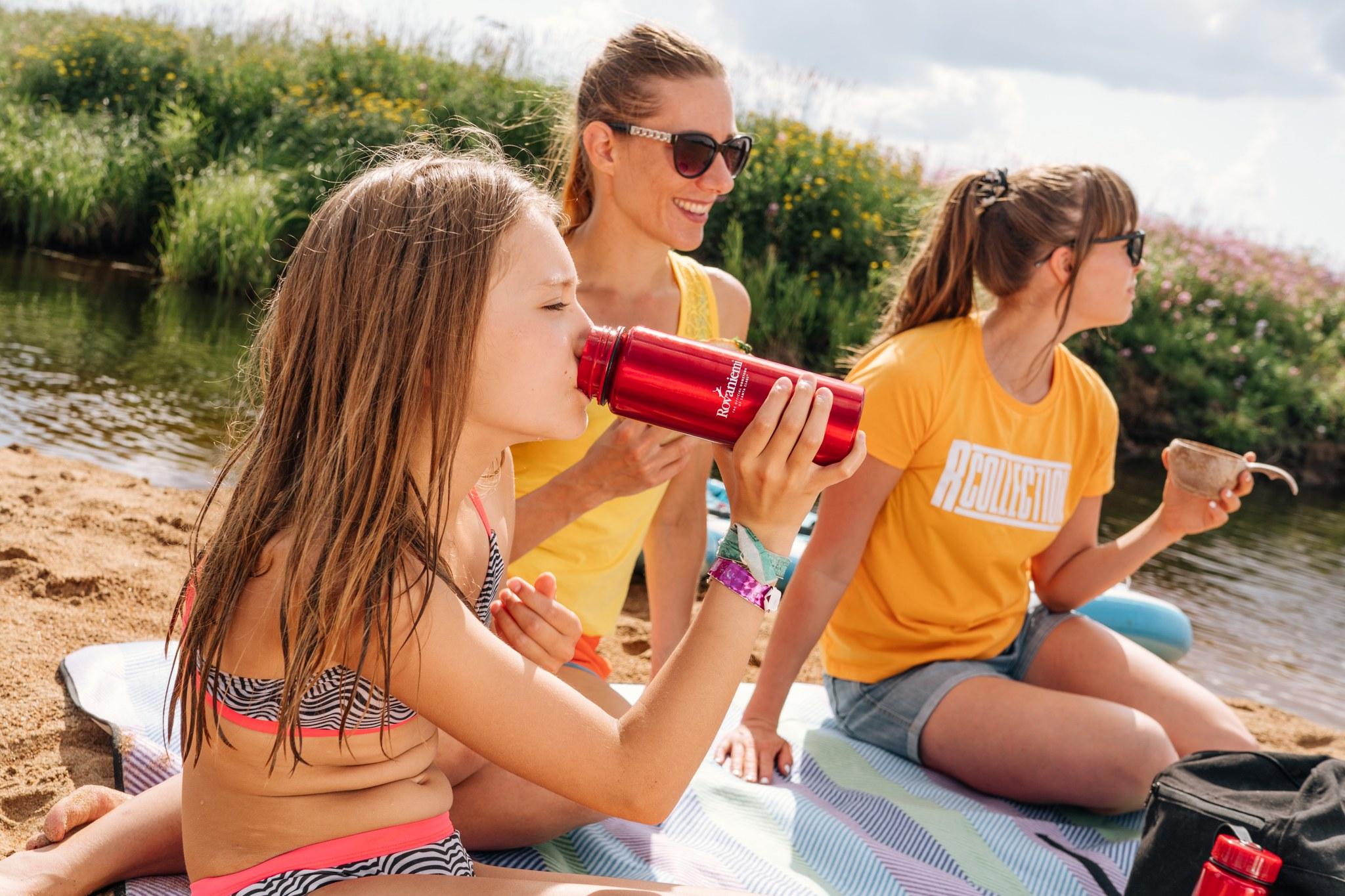 Girls at the beach in Rovaniemi Lapland Finland