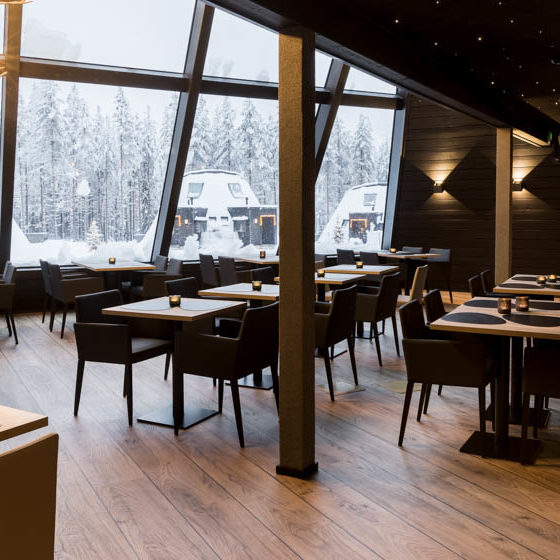 Glass Resort Restaurant in Santa Claus Village, Arctic Circle, Rovaniemi, Lapland, Finland