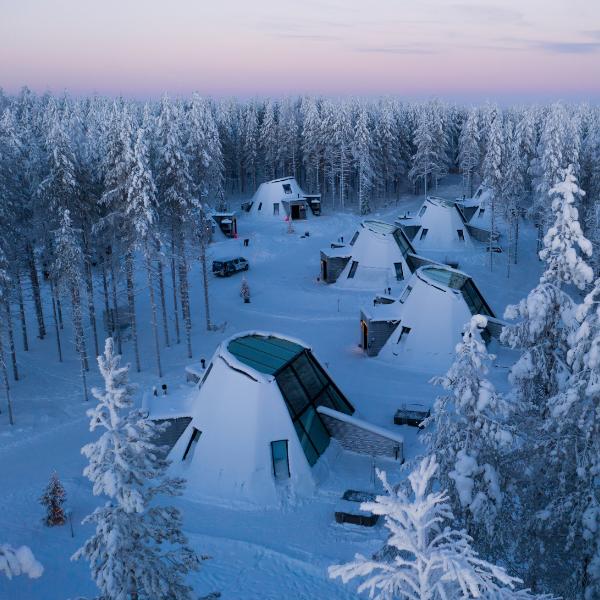 Glass Resort glass houses in Santa Claus Village Rovaniemi Lapland Finland