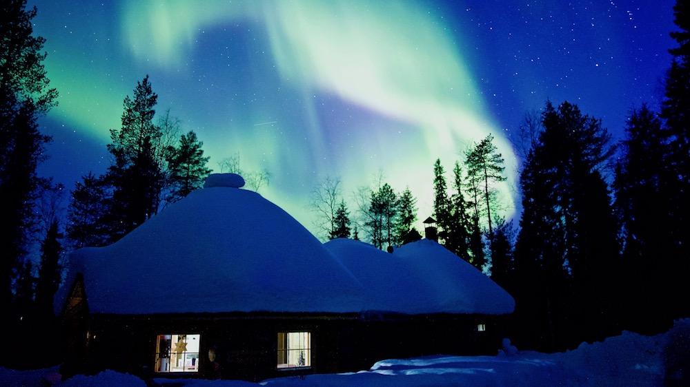 Auroras with Happy Fox in Rovaniemi, Lapland, Finland