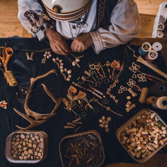 Artisan Irene Kangasniemi doing handicrafts in Rovaniemi Lapland Finland