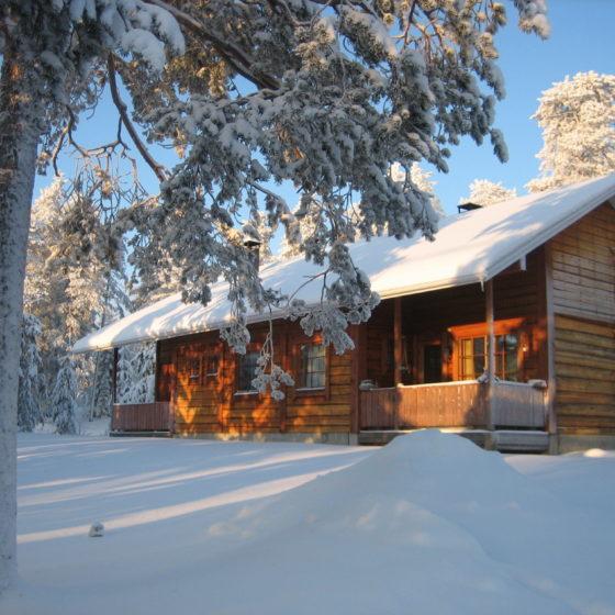 Chalet Kieppi at wintertime in Ounasvaara, Rovaniemi, Lapland, Finland