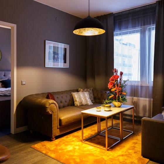Livingroom in Golden Circle Suites in Rovaniemi, Lapland, Finland