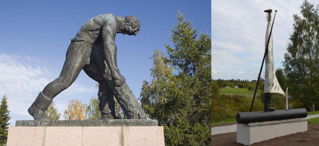 Lumberjack statue and Natti Jussi statue in Rovaniemi, Lapland, Finland