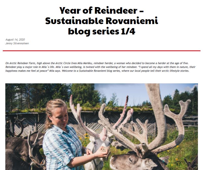Year of Reindeer Miia Merkku Visit Rovaniemi Sustainable blog series