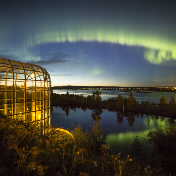 Museum Science Centre Arktikum and Northern lights in Rovaniemi Lapland Finland