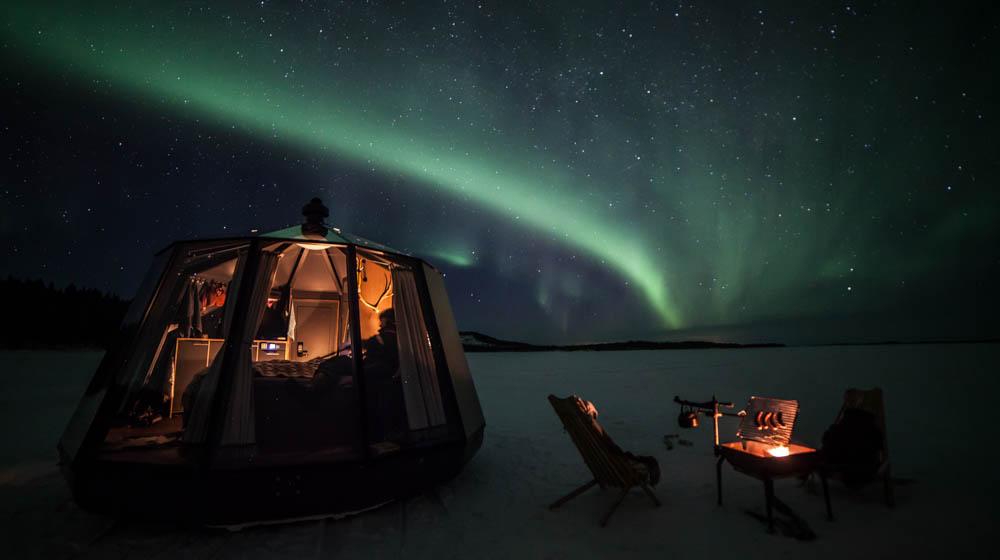 Northern Lights from AuroraHut, Ollero Eco Lodge, Rovaniemi, Lapland, Finland