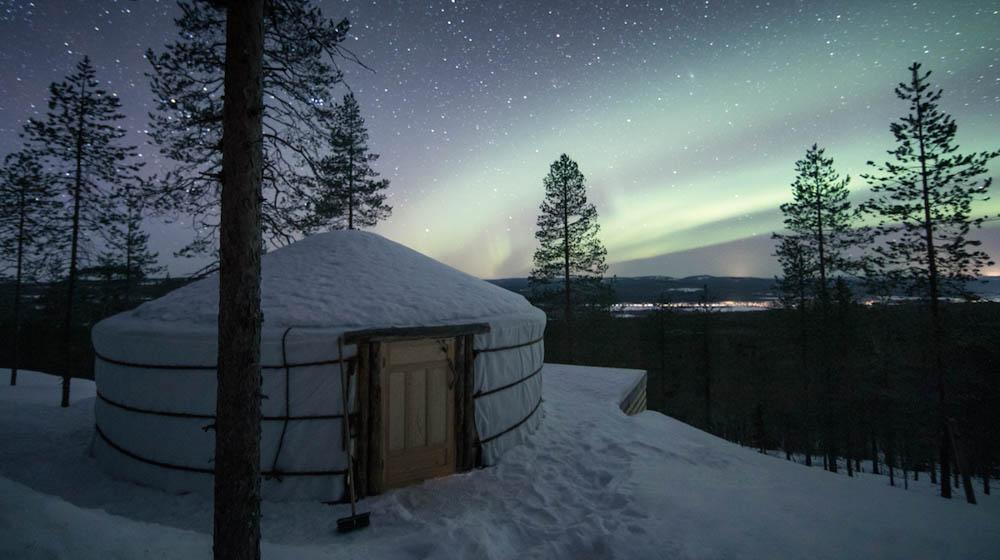 Northern Lights from Yurt District, Rovaniemi, Lapland, Finland