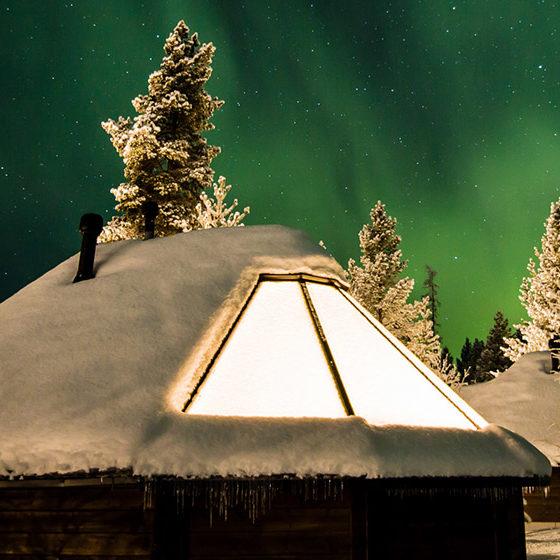 Northern Lights in Aurora Village in Ivalo, Lapland, Finland