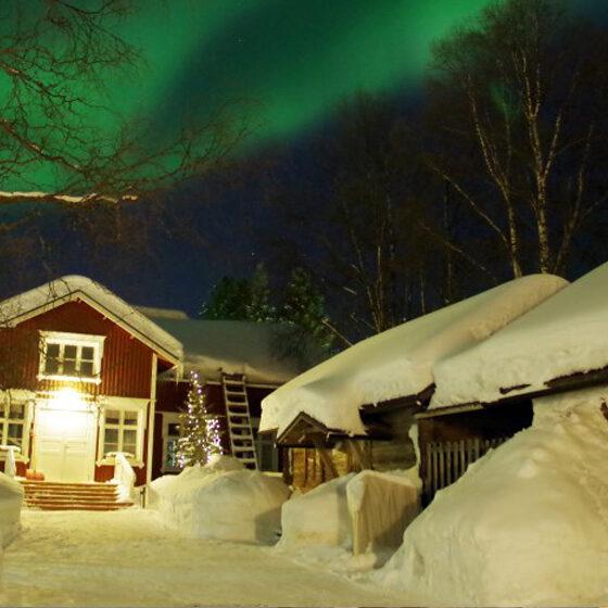 Northern Lights in Lauri House, Rovaniemi, Lapland, Finland