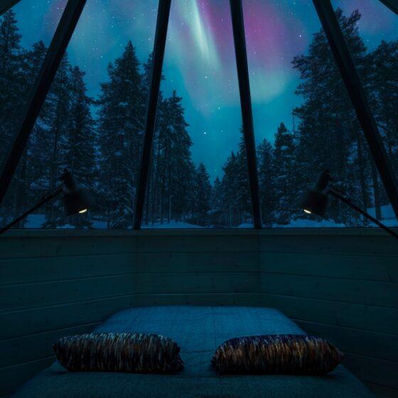 Northern Lights in Pyha Igloos Pyhatunturi, Lapland, Finland