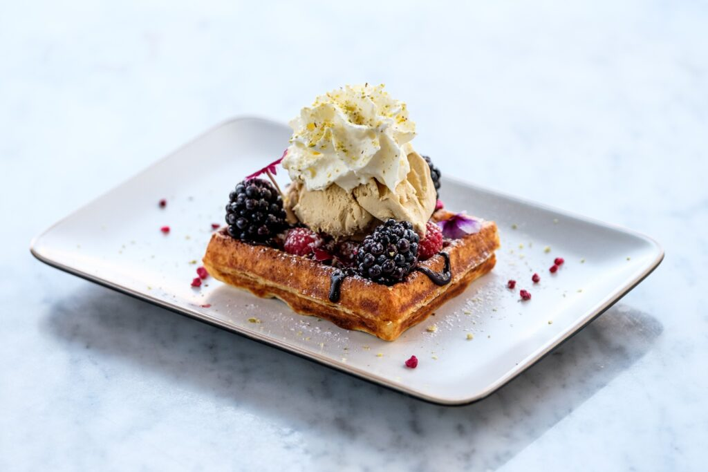 Oh Pistachio waffle in CafeBar21 in Rovaniemi Lapland Finland