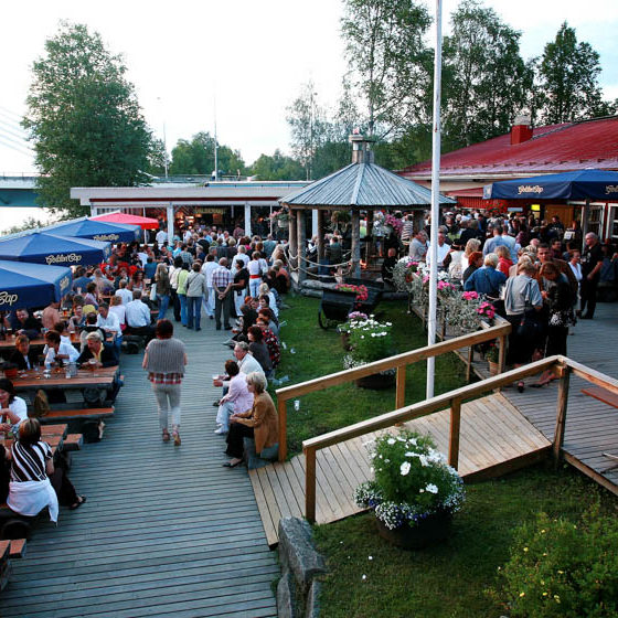 Outdoor terrace, Restaurant Valdemari in summer, Rovaniemi, Lapland, Finland