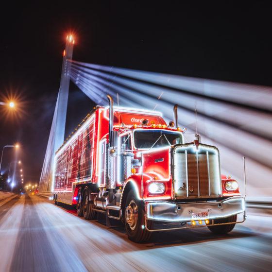 Coca-Cola truck in Rovaniemi Lapland