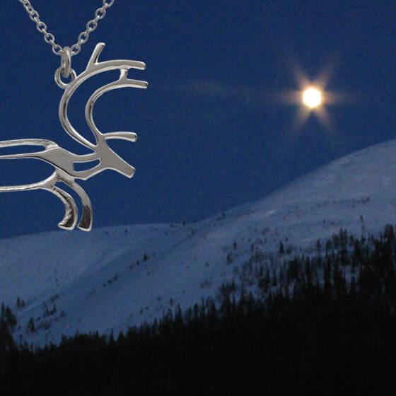 Reindeer in moonlight, jewelry by Taiga-Koru, Rovaniemi, Lapland, Finland