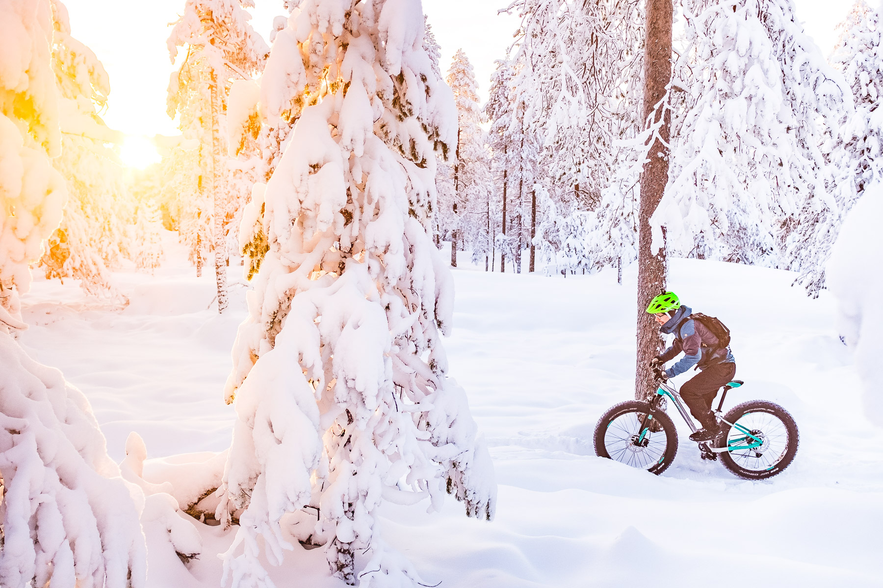 Roll Outdoors winter mountain bike tour in Rovaniemi, Lapland, Finland