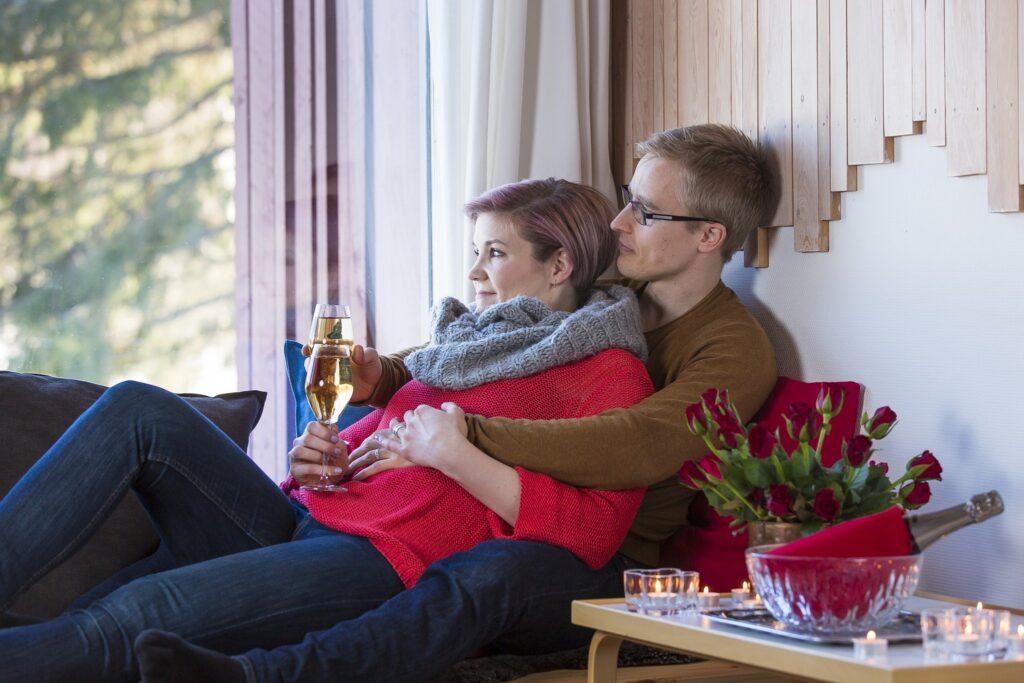 Romantic moment at Hotel Vartiosaari in Rovaniemi Lapland Finland