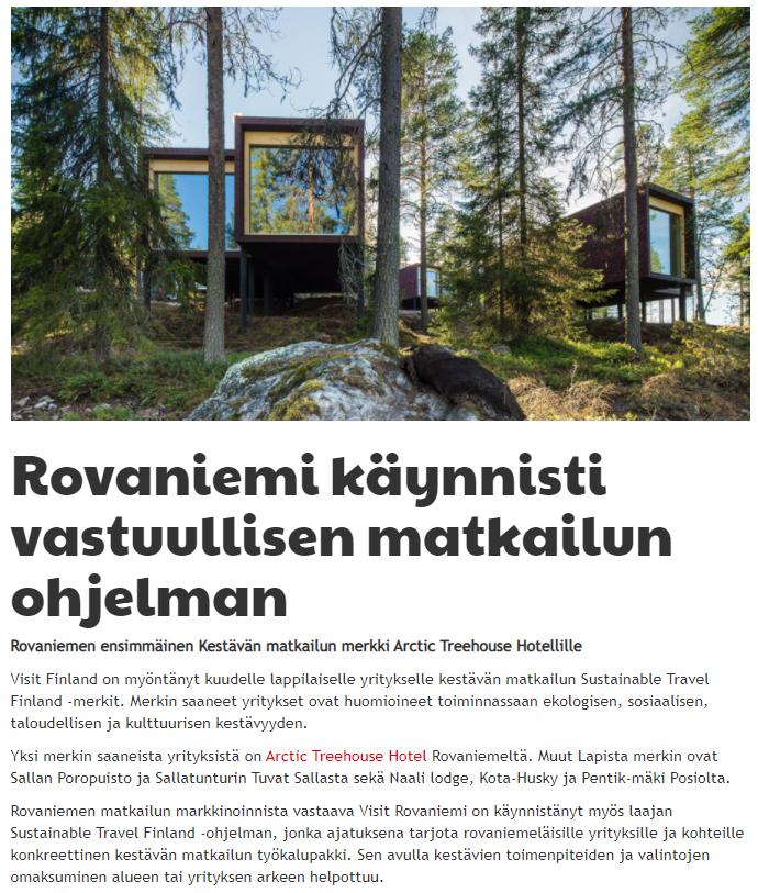 Rovaniemi käynnisti vastuullisen matkailun ohjelman uutinen Visit Rovaniemi