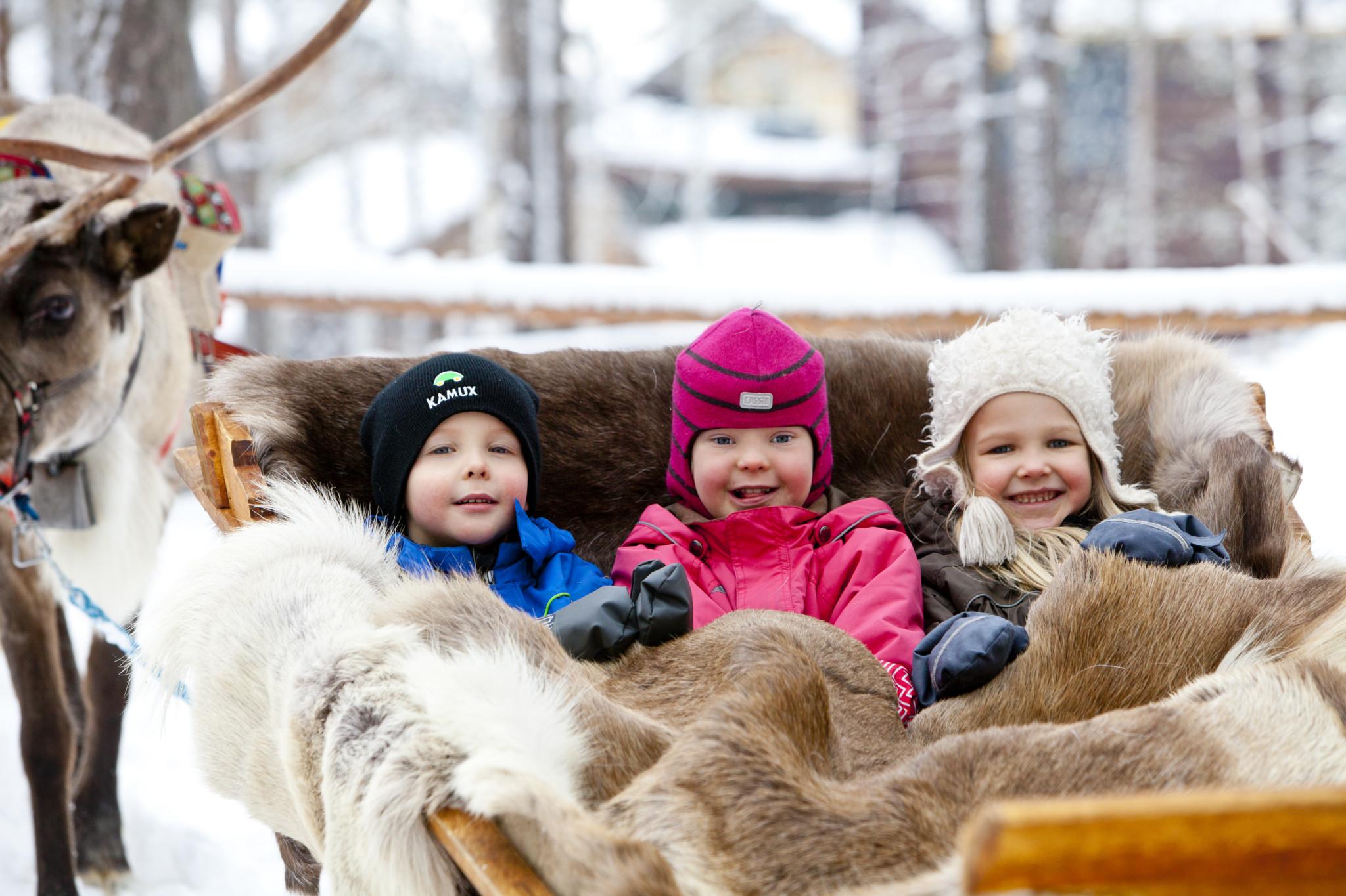 Reindeer sleigh ride Rovaniemi Lapland Finland