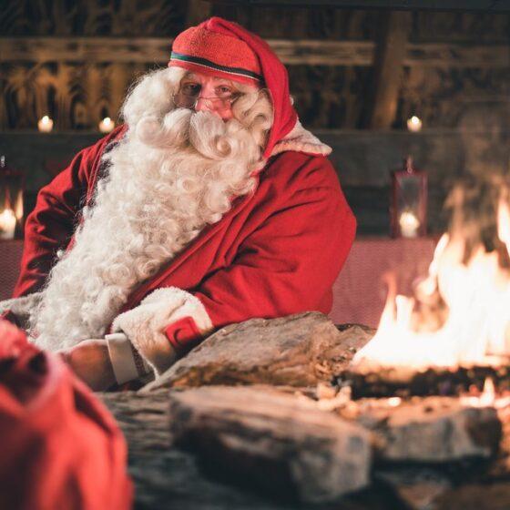Santa Claus at Bon fire in Rovaniemi Lapland Finland