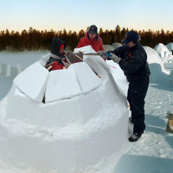 Snowbrick igloo village in Rovaniemi, Lapland, Finland