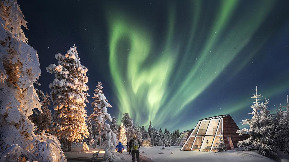 Snowman World Glass Resort Glass Apartment outside at Santa Claus Village, Rovaniemi