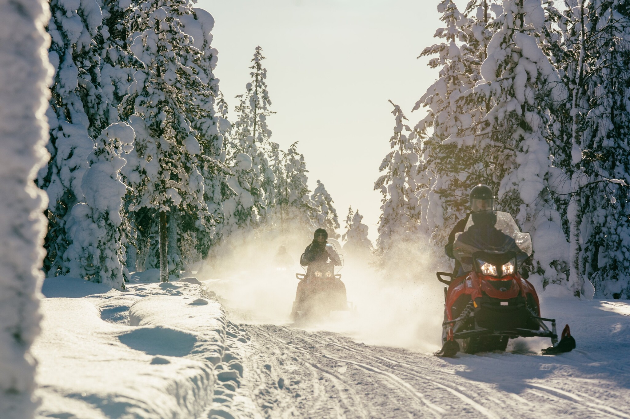 Snowmobile excursion in snowy winter forest, Rovaniemi, Lapland, Finland (10)
