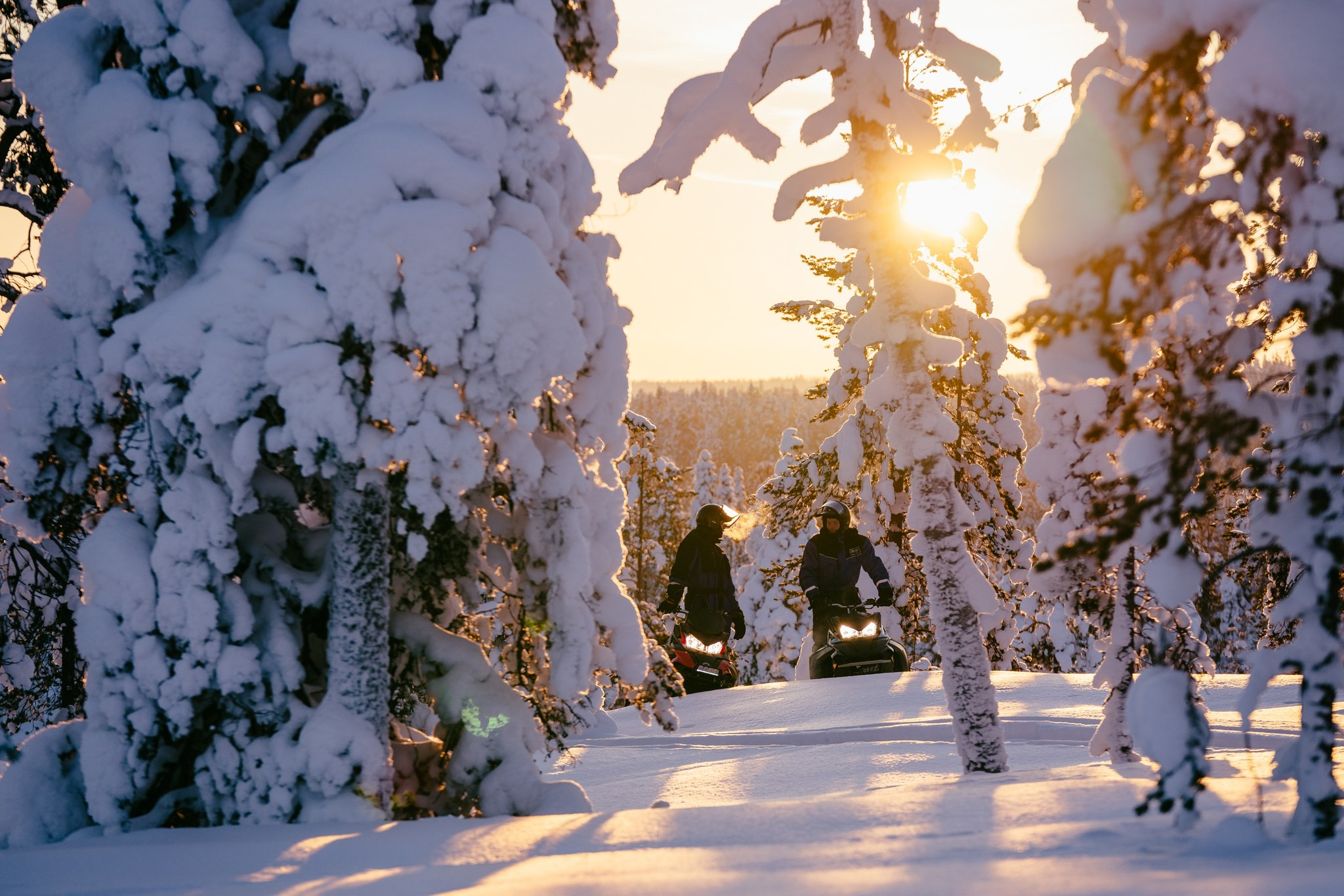 Snowmobile excursion in snowy winter forest, Rovaniemi, Lapland, Finland