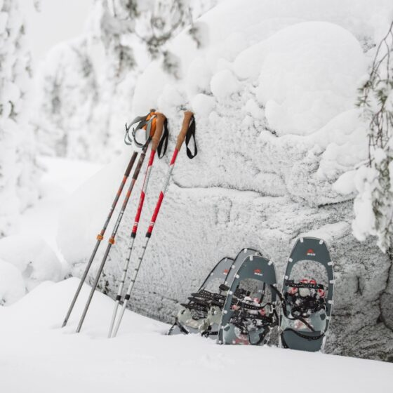 Snowshoeing in Ounasvaara in Rovaniemi Lapland Finland