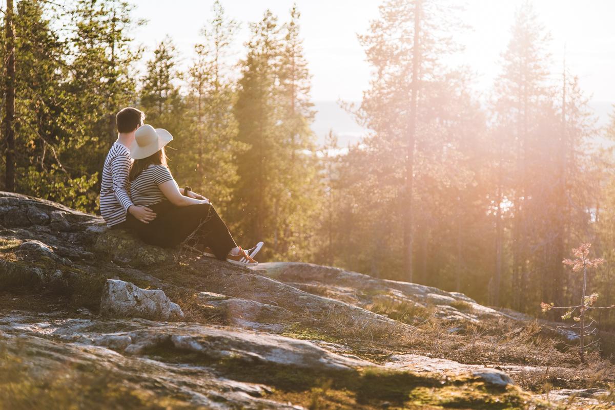 Summer 2020 Couple at Ounasvaara in Rovaniemi Lapland Finland