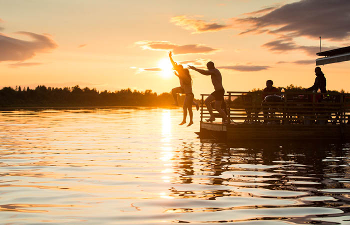 Summer in Rovaniemi, Lapland, Finland, Midnight sun and sauna raft