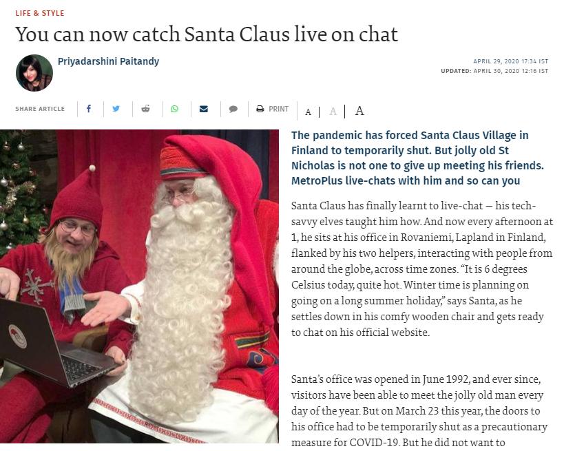 The Hindu Magazine article Santa Claus in Rovaniemi Lapland Finland
