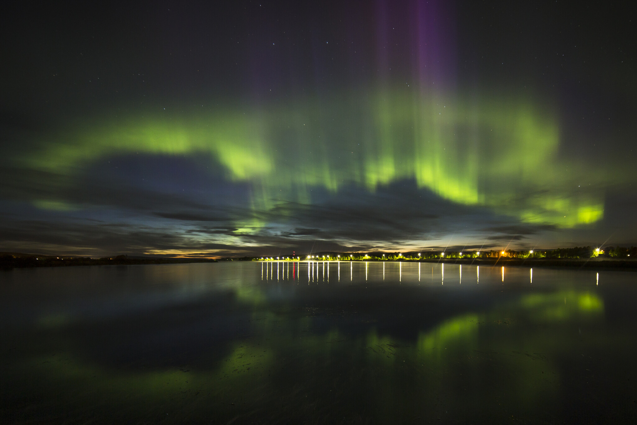 The Northern Lights above the city of Rovaniemi, Lapland, Finland