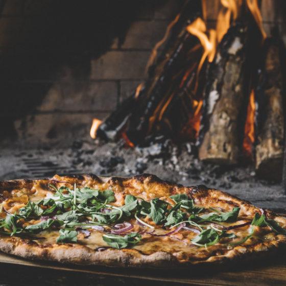 Pizza in Aitta Restaurant, Apukka Resort, Rovaniemi, Lapland, Finland